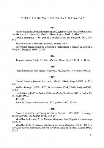 Popis radova Ladislava Šabana