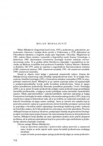 Milan Mihaljević : Ljetopis