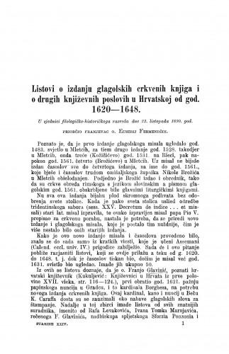 Listovi o izdanju glagolskih crkvenih knjiga i drugih književnih poslovih u Hrvatskoj od god. 1620-1648. / Euzebije Fermendžin
