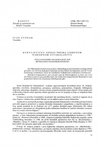 Kukuljevićev odnos prema usmenom narodnom stvaralaštvu : Radovi Zavoda za znanstveni rad Varaždin