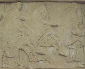 Tri muške figure, Partenon- južni friz Fidijina radionica