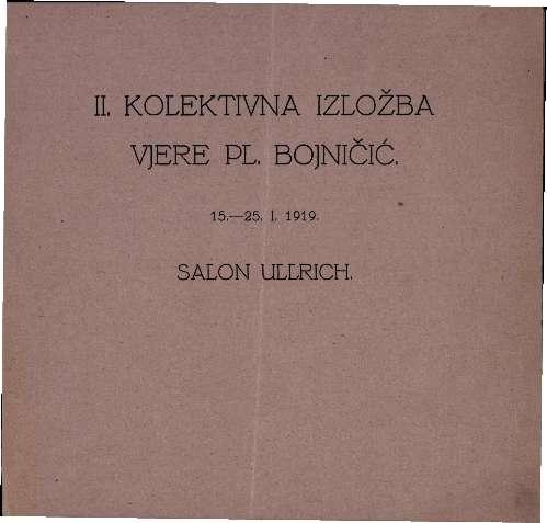 II. kolektivna izložba Vjere pl. Bojničić