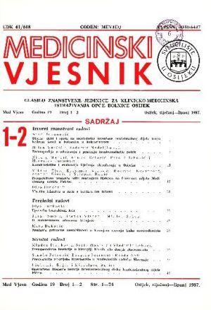 God. 19, br. 1-2(1987) : Medicinski vjesnik