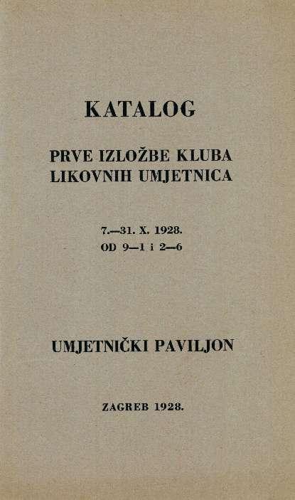 Katalog Prve izložbe Kluba likovnih umjetnica
