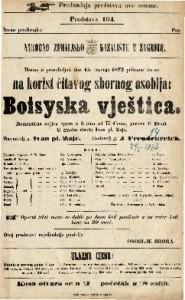 Boisyska vještica romantična šaljiva opera u 3 čina / U glasbu stavio Ivan pl. Zajc