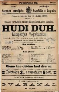 Hudi duh. Lumpacijus Vagabundus Gluma s pjevanjem u 3 čina i predigrom / za narodno kazalište priredio Josip Freudenreich