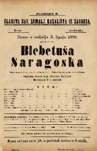 Blebetuša Saragoska Šaljiva opereta u 2 čina / glasba od J. Offenbacha