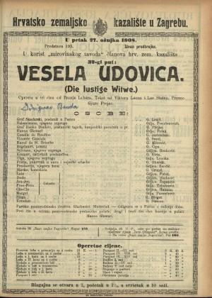 Vesela udovica Opereta u 3 čina / od Franje Lehára  =  (Die lustige Witwe)