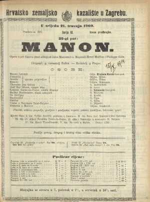 Manon Opera u pet činova (6 slika) / Prema romanu Abbéa Prévosta Manon Lescaut