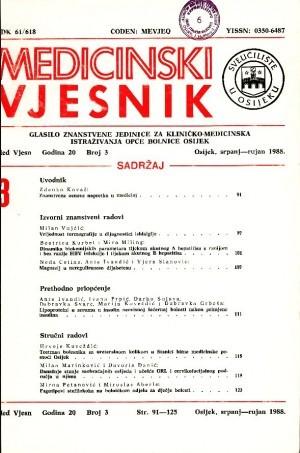 God. 20, br. 3(1988) : Medicinski vjesnik
