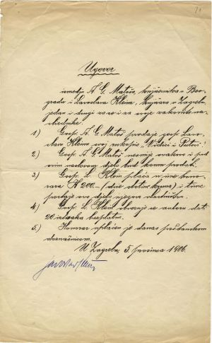 Ugovor između A. G. Matoša i knjižara Lavoslava Kleina o prodaji Matoševa djela Vidici i putovi