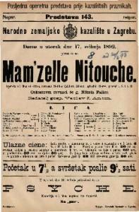 Mam'zelle Nitouche Opereta u 3 čina (4 slike) / uglasbio Herve