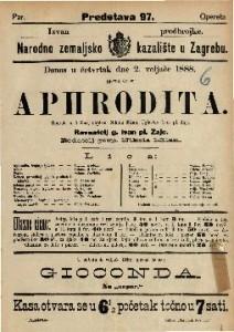 Aphrodita Opereta u 3 čina / Uglasbio Ivan pl. Zajc