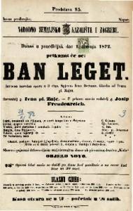 Ban Leget : izvorna narodna opera u 3 čina