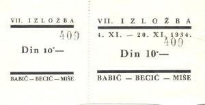 VII izložba Babić-Becić-Miše - ulaznica