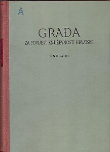 Knj. 29(1968) : Građa za povijest književnosti hrvatske