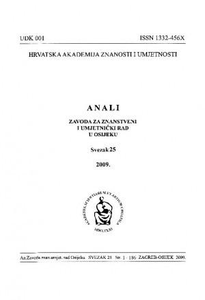 Sv. 25 (2009) : Anali Zavoda za znanstveni i umjetnički rad u Osijeku
