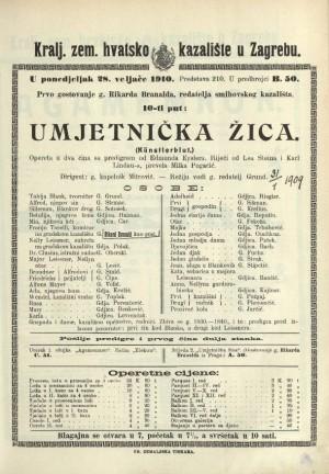 Umjetnička žica Opereta u dva čina sa predigrom / od Edmunda Eyslera  =  (Kunstlerblut)