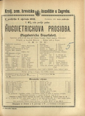 Hugdietrichova prosidba : Operetna priča u tri čina  =  Hugdietrichs Brautfahrt
