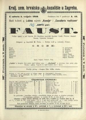 Faust : Velika opera u pet činova / Prema prvom dijelu drame Faust Johanna Wolfganga Goethea