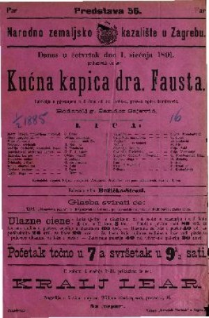 Kućna kapica dra. Fausta Lakrdija s pjevanjem u 3 čina / od Fr. Hobb-a