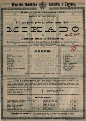Mikado ili Jedan dan u Titipu-u Komična opereta u dva čina / uglazbio A. Sullivan