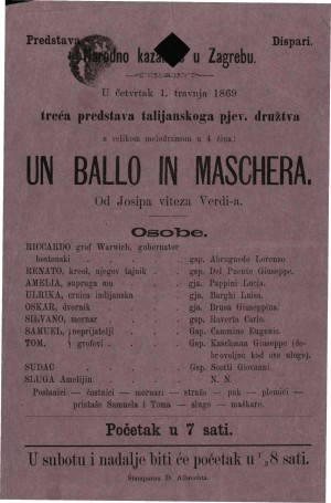 Un ballo in maschera : velika melodrama u 4 čina