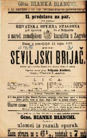 Seviljski brijač Komična opera u 2 čina