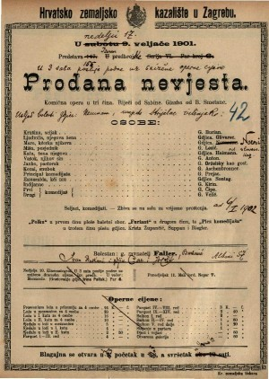 Prodana nevjesta komična opera u tri čina / glazba od B. Smetane