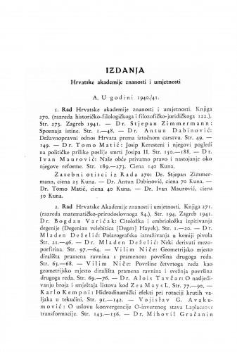 Izdanja Hrvatske akademije znanosti i umjetnosti u godini 1940./41. i 1942. : Ljetopis
