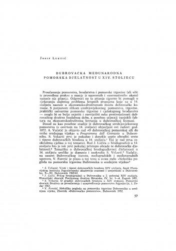 Dubrovačka međunarodna pomorska djelatnost u XIV. stoljeću
