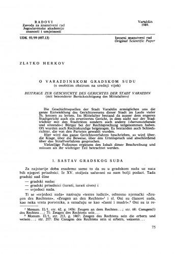O Varaždinskom gradskom sudu (s osobitim obzirom na srednji vijek) : Radovi Zavoda za znanstveni rad Varaždin