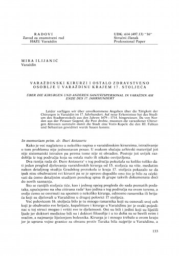 Varaždinski kirurzi i ostalo zdravstveno osoblje u Varaždinu krajem 17. stoljeća : Radovi Zavoda za znanstveni rad Varaždin