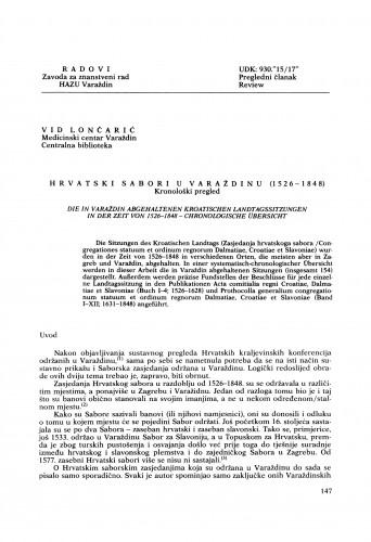 Hrvatski sabori u Varaždinu (1526-1848) : kronološki pregled : Radovi Zavoda za znanstveni rad Varaždin