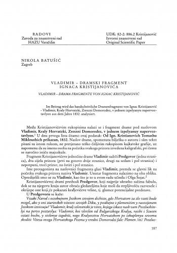 Vladimir - dramski fragment Ignaca Kristijanovića : Radovi Zavoda za znanstveni rad Varaždin