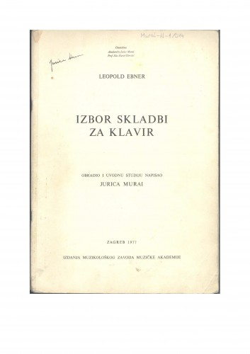 Izbor skladbi za klavir : Ostavština Jurica Murai