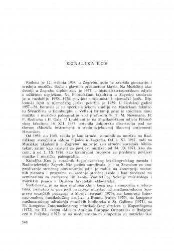 Koraljka Kos : [biografije novih članova Akademije]