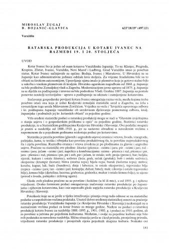 Ratarska produkcija u kotaru Ivanec na razmeđi 19. i 20. stoljeća
