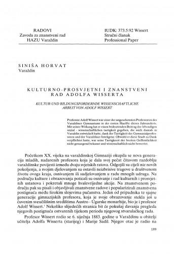 Kulturno-prosvjetni i znanstveni rad Adolfa Wisserta : Radovi Zavoda za znanstveni rad Varaždin