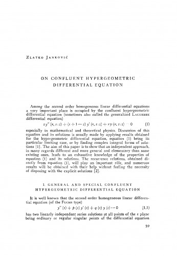 On confluent hypergeometric differential equation