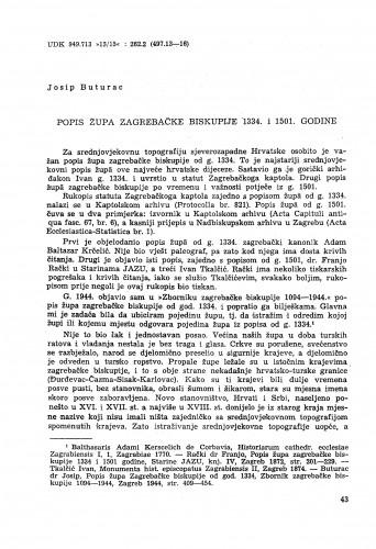 Popis župa zagrebačke biskupije 1334. i 1501. godine / Josip Buturac