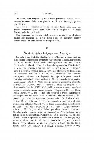 Život čovjeka božjega sv. Aleksija : [opisi i izvodi iz nekoliko jugoslavenskih rukopisa u Pragu] / Jiři Polívka