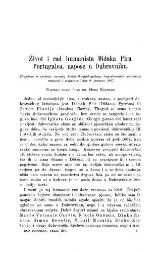 Život i rad humanista Didaka Pira Portugalca, napose u Dubrovniku