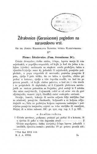 Ždralovnice (Geraniaceae) pogledom na naravoslovnu vrst : RAD