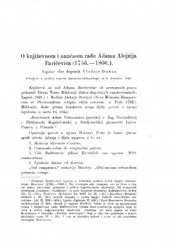 O književnom i naučnom radu Adama Alojzija Baričevića (1756.-1806.)