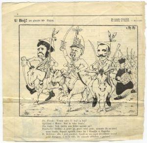Karikatura A. G. Matoša na magarcu