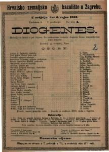Diogenes historijska drama u pet činova / po istoimenom roanu Augusta Šenoe dramatizovao ANte Benešić
