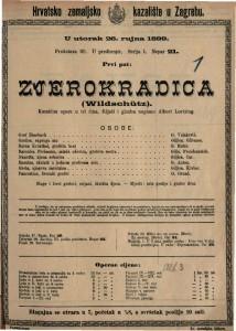 Zvjerokradica komična opera u tri čina / riječi i glazbu napisao Albert Lortzing