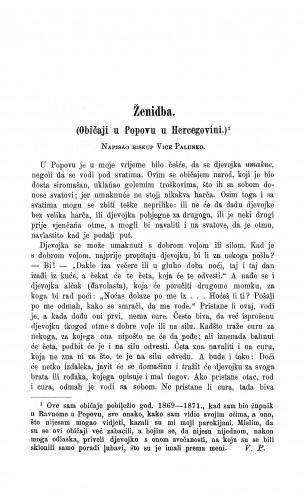 Ženidba : (običaji u Popovu u Hercegovini.) / V. Palunko