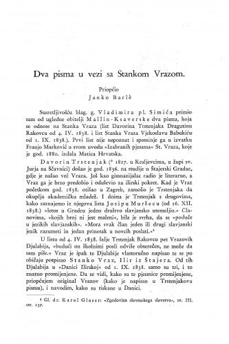 Dva pisma u vezi sa Stankom Vrazom / Janko Barle